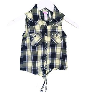 JUSTICE Sleeveless Plaid Button Down Yellow Sz 7Y